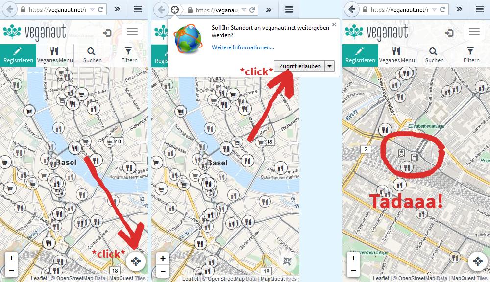 Den runden Knopf rechts unten drücken, dann dem Browser erlauben, uns deinen Standort durchzugeben, und schon siehst du auf der Karte, wo du bist (wenn dein Browser es weiss).